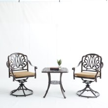 Elizabeth Cast Aluminum Garden Furniture 3 Pcs Set with Cushions -Bronze