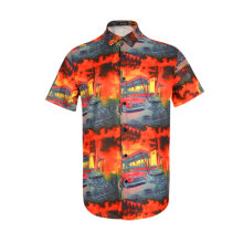 Men Retro Cars Print Casual Button Down Shirt Funny Graphic Short Sleeve Hawaiian Shirts