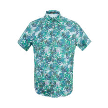 Men's Hawaiian Printing Shirts Short Sleeve Button Down Casual Tropical Beach Floral Shirt Blue