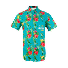 Men's Hawaiian Printing Shirts Short Sleeve Button Down Casual Tropical Beach Floral Shirt Green