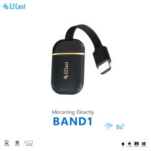 EZCast Band 1 HDMI Wireless Display Receiver 1080P Airplay Miracast Dongle for TV Compatible with Phone Tablet PC to Display 2.4G&5G Dual Band Bluetooth Connection Voice Control