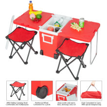 Outdoor Picnic Foldable Multi-function Rolling Cooler Upgraded Stool