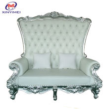 French Luxury High Quality Two Seat White High Back Throne Chair Sofa