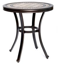 "[Dropshipping] Handmade Dining Table Contemporary Round a Tile-Top Design with Heavy-Duty Aluminum Frame 28"" Dia x 28.6"" Height"