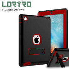 Fashion *pad Case 9.7 Inch Kickstand Tri-layer Protection Shockproof Cover Red