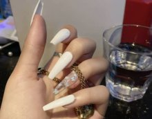 White Butterfly Fake Nails/Press On Nails/Handmade/Ballerina Shape