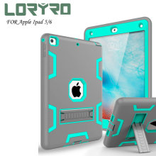 Fashion *pad Case 9.7 Inch Kickstand Tri-layer Protection Shockproof Cover Blue