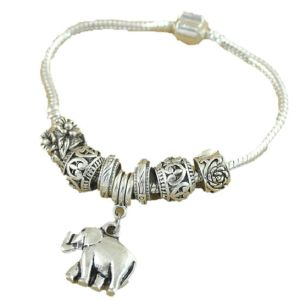 Cute Elephant Dangling Beads Charm Snake Chain Vintage Bracelet Silver Plated Beaded Bracelet