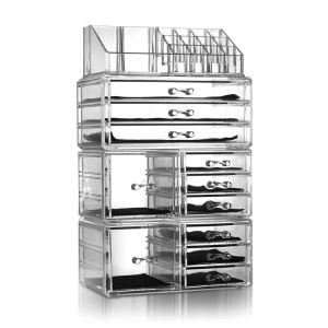 4P/Set Shelfs Plastic Cosmetics Storage Rack Makeup Organizer Transparent Holder