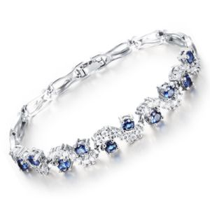 Crystal Bangle for Women White Gold Plated Rhinestone Cubic Zirconia Womens Jewelry