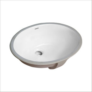 CHANGIE 1636W Bathroom Ceramic Sink Oval Lavatory Undercounter, White, 13 x 11 inches