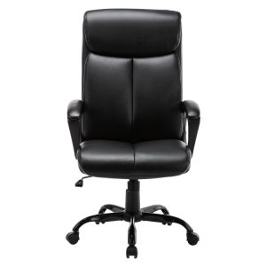 Free Shipping High Back Office Chair - Executive Bonded Leather Computer Desk Swivel Task Chair W/Rocking Function, Black
