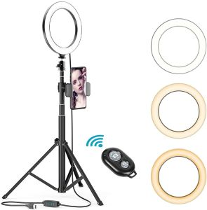 8 Inches Selfie Ring Light with Stick Tripod Stand and Phone Holder for Live Stream, Makeup, Dimmable Led Camera Beauty Ringlight for YouTube Video Photography Compatible with iPhone or Android