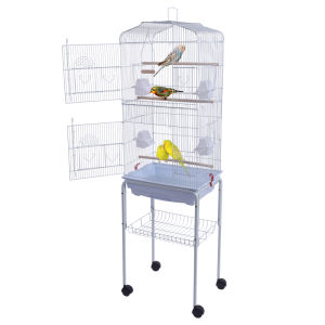 "59"" Bird Cage Pet Supplies Metal Cage with Rolling Stand White YF"