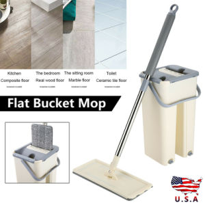 Free  shipping Squeeze Mop And Bucket Hand Free Flat Floor Self Cleaning Microfiber Mop Pads US