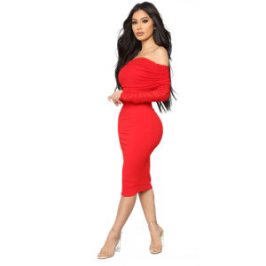 Solid Color Off The Shoulder Midi Dress