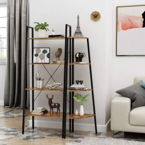 4-Tier Industrial Ladder Shelf Bookcase, Plant Stand Storage Rack Shelves, Vintage Furniture for Living Room, Bedroom, Office