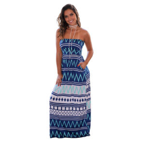 Casual Printed Strapless Maxi Dress