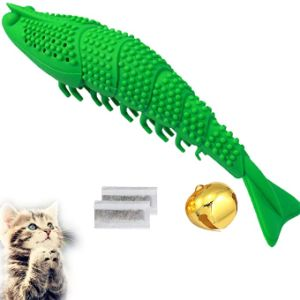 New Upgrade Models Pet Shrimp Shape Cat Toothbrush with Catnip Chewing Toy, Eco-Friendly Silicone Molar Stick for Pet Cat, Toys With Cleaning Toothbrush for Cats