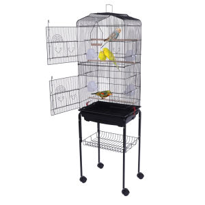 "59"" Bird Cage Pet Supplies Metal Cage with Rolling Stand Black YF"