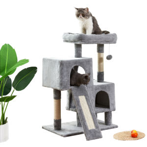 Free shipping Cat Tree Apartment with Sisal Grab Ba,Grab Board,Plush and Double Room,Cat Tower Furniture,Kitten Activity Center,Kitten Play House,