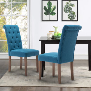Free Shipping Qwork Furniture Classic Fabric Dining Chair with Wooden Legs - Set of 2