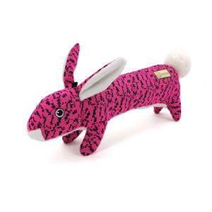 J.CARP Rabbit Shape Durable FlyKnit Dog Toy, Lovely Chewers, Interactive Squeakers