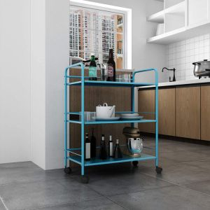 Tier Metal Rolling Utility Cart, 3-Shelf Storage Organizer with Wheels, Perfect for Home Office Kitchen Bathroom Organization