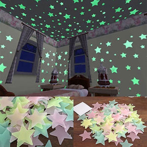 100/40Pcs 3D Glow in the Dark Stars Ceiling Wall Stickers Cute Living Home Decor