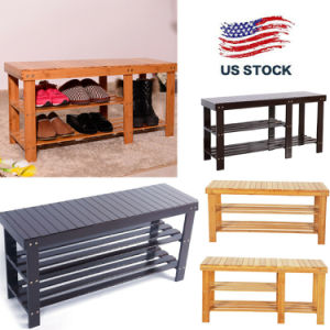 90cm 3Tier Bamboo Stool Shoe Rack Storage Seat Organizer Shelf Entryway Bench