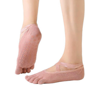 Women Cross Strap Yoga Anti-Slip Breathable Pilates Ballet Cotton Short Socks