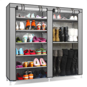 Double Rows Home Shoe Rack Shelf Storage Closet Organizer Cabinet Portable Cover Grey