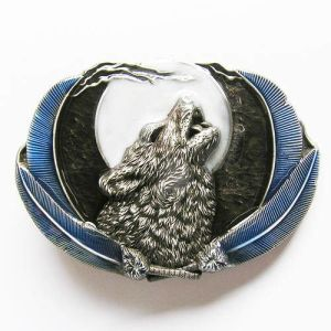 Jeansfriend New Enamel Western Wolf Moon Oval Belt Buckle