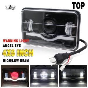 Colight 4x6 45W Headlight Led Headlamp for Wrangler IP68 DRL Driving Light High Low Beam 12V 24V Red Angel Eyes Headlamp Sealed Beam (white)