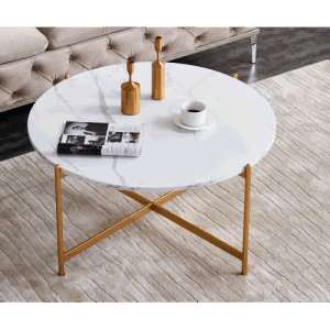 Modern Round coffee table,golden color frame with marble wood top-36""