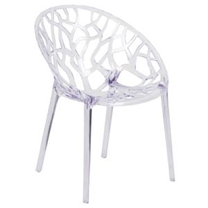 Specter Series Transparent Oval Shaped Stacking Side Chair with Artistic Pattern Design Clear