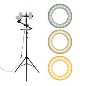 "6.3"" Selfie Ring Light with Tripod Stand & Double Cell Phone Holder & Mic Stand & Multi-function Plate for Live Stream / Makeup Compatible with iPhone and Android Smartphone"