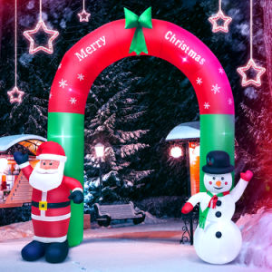 8FT Christmas Outdoor Lighted Inflatable Decor Giant Yard Party Decoration (Snowman and Santa Claus Standing Outside The Arch)