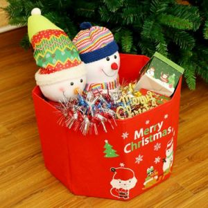 Free shipping 65cm Red Christmas Tree Storage Box Xmas Party Home Decoration Gift Organizer