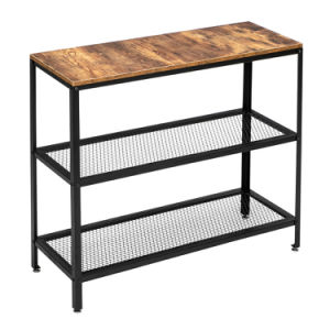 Modern industrial wood grain 3 layers 40-inch rectangle wrought iron sofa table