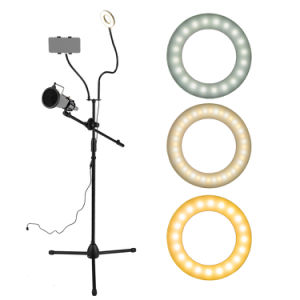 "3.5"" Selfie Ring Light with Tripod Stand & Cell Phone Holder & Mic stand & Pop Filter for Live Stream / Makeup Compatible with iPhone and Android Smartphone"