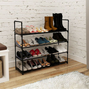 Free shipping 4 Tier Metal Shoe Rack Unit Shelf Closet Organizer Holds 20 Pair Shoes Black