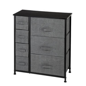 Dresser With 7 Drawers - Furniture Storage Tower Unit For Bedroom, Hallway, Closet, Office Organization - Steel Frame, Wood Top, Easy Pull Fabric Bins, Grey