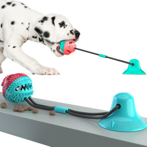 Dog Molar Bite Toy Multifunction Pet Chew Toys with Suction Cup Doggy Pull Ball for Dogs Cats Cleaning Tooth Food Dispenser NEW