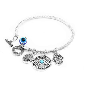 Twisted Bracelet Womens Dangling Evil Eye and Hamsa Hand Charm