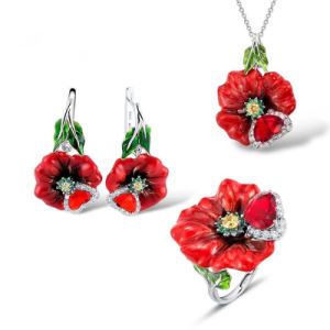 Buyee 100% 925 Sterling Silver Flower Wedding Jewelry Sets Women Red Stone and Customized Handmade Enamel Ring for Women Jewelry
