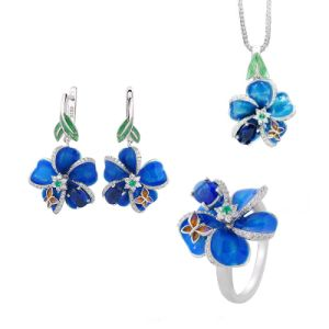 Buyee 100% 925 Sterling Silver Women's Wedding Jewelry Sets Blue Stone and Enamel Flower Ring Earring for Women Party Jewelry