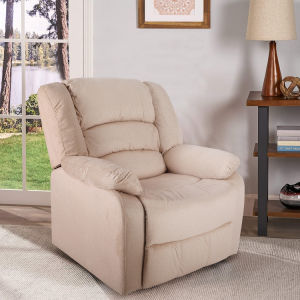 Home Recliner Chair Overstuffed Manual Recliner Pillow Top Arm Sofa--Cream Yellow
