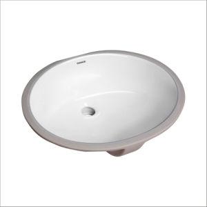 CHANGIE 1601W Oval Undercounter Bathroom Ceramic Vanity Sink, White, 17 X 14 Inches