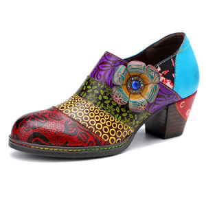 Iliyah Bohemian Retro Handmade Shoes For Women Splicing Print Flower Genuine Leather Stitching Women Pumps